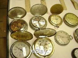 Lot of 19 Antique Pocket Watches, Hampden, Hamilton, Elgin, Standard, Stop Watch