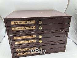 METAL 6 DRAWER Gruen Hamilton POCKET WATCH MOVEMENT WATCHMAKER PARTS CABINET