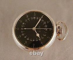 MILITARY U. S. GOVT. HAMILTON G. C. T. WWII 4992B 22j COIN SILVER OPEN FACE WATCH