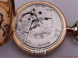 Mermod Jaccard & Co St. Louis 14K Gold Hunter Case Hamilton 11j Pocket Watch