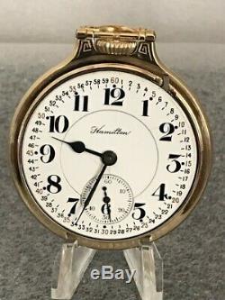 NICE Hamilton 992B 21j Adj 6 pos. Model 5 Gold Filled Railroad Pocket Watch