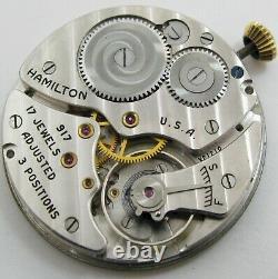 Pocket Watch Movement 10s hamilton 917 17 jewels 3 adj. Dial & hands OF