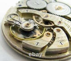 Pocket Watch Movement 12s hamilton 922 MP 23 jewels 5 adj. Dial & hands OF