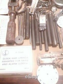 Pocket watch parts lot tools 18k 10k gold filled NOS Elgin Waltham Hamilton