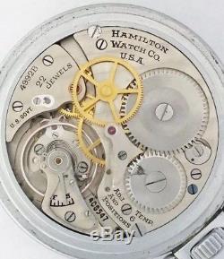 RARE G. C. T. Hamilton 4992B U. S. Military WWII 22J Mens Pocket Watch Runs Perfect