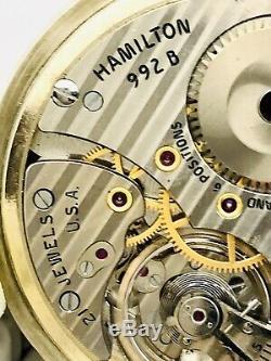 RARE Near Museum 4C Serial # 1970 Hamilton 992B 16S 21J Railroad Pocket Watch