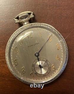 Rare 18k White Gold 1937 45mm 12S Hamilton Masterpiece 922MP Pocket Watch