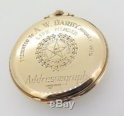 Rare 1937 Hamilton 923 10s 23J 18K Gold OF Pocket Watch 3600 Made Addressograph
