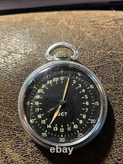 Rare Silver cased Hamilton 4992B Military 24 Hour pocket watch c1942