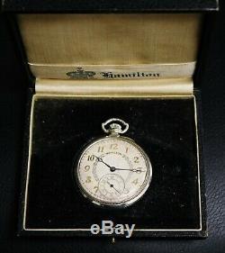 Running Hamilton 14K Gold Filled Pocket Watch Grade 912 17 Jewels Model 2 12s