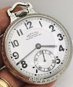 SERVICE 1950 Hamilton 950B 16S 23J Railroad Pocket Watch BOC Stainless Steel
