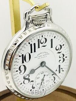 SERVICE 1963 Hamilton 950B 16S 23J Railroad Pocket Watch BOC Stainless Steel