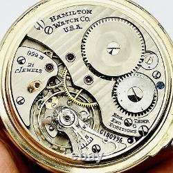 SERVICE MINT 1947 Hamilton 992B 16S 21J Factory Model 11 Railroad Pocket Watch