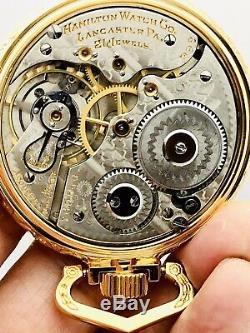 SERVICED 1910 Hamilton 992 16S 21J Railroad Pocket Watch Salesman Case Accurate