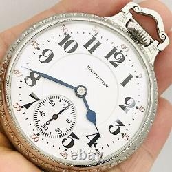 SERVICED 1927 Hamilton 950 16S 23J BOC Bar Over Crown Railroad Pocket Watch
