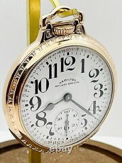 SERVICED 1958 Hamilton 992B 16S 21J BOC Bar Over Crown Railroad Pocket Watch