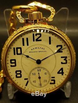 STUNNING! Hamilton RAILWAY SPECIAL 992 Pocket Watch in Mint Display Case