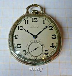 Schöne 12 Size Hamilton Taschenuhr Kaliber 912,17 Steine. Weis vergoldet
