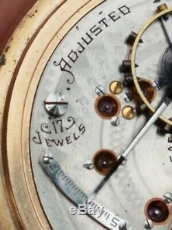 Serviced 1902 Hamilton 18s Pocket Watch In GF Case, Gr 926,17J, Adj, nice Dial, Runs