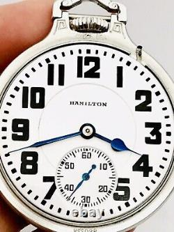 Stunning 1938 Hamilton 950E 16S 23J BOC Bar Over Crown Railroad Pocket Watch