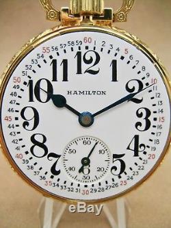 VINTAGE HAMILTON 992B 16s 21jewel POCKET WATCH IN A NEW SALESMAN CASE NICE 1