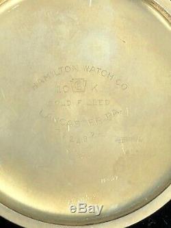 VINTAGE HAMILTON 992B RAILWAY SPECIAL 21 JEWELS POCKET WATCH 10K GOLD FILL c299