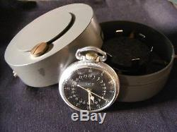 VINTAGE Hamilton Military GCT 22j WWII 4992B Navigation Pocket Watch and Case