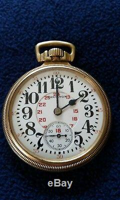Very nice Hamilton lever set railroad pocket watch 992 with rare dial