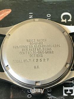 Vietnam Ref GG-W-113 Hamilton US military 1982 men's watch, Hack, rare screw back