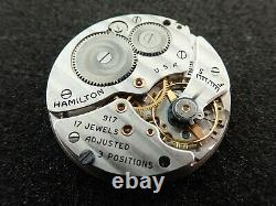 Vintage 10 Size Hamilton Openface Pocket Watch Movement Grade 917 Running