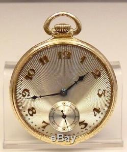 Vintage 12 Size Hamilton 14K Gold 922 Open Face 23 Jewel Pocket Watch Free Ship