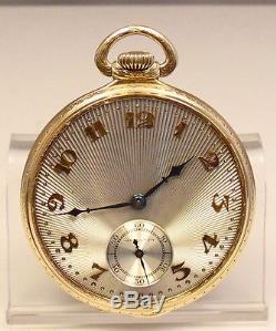 Vintage 14 Size Hamilton 14K Gold 922 Open Face 23 Jewel Pocket Watch Free Ship