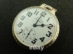 Vintage 16 Size Hamilton Open Face Pocket Watch Grade 992b Keeping Time 1951