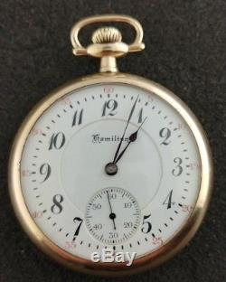 Vintage 16 Size Hamilton Pocket Watch Grade 950 Running From 1918 Wwii