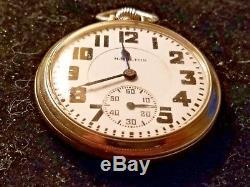 Vintage 1930 Hamilton Size 16 21 Jewels Railroad Grade Pocket Watch 14k GF