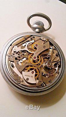 Vintage 1942 Hamilton 19 Jewels Model 23 MILITARY CHRONOGRAPH Pocket Watch Sz 16