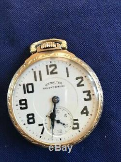 Vintage 1947 Size 16 Hamilton Railway Special 992B 21 Jewels Pocket Watch Runs