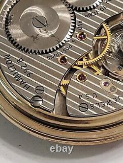 Vintage 1956 HAMILTON 992B 21 Jewels Sz 16 RAILROAD 10K Gold-Filled Pocket Watch