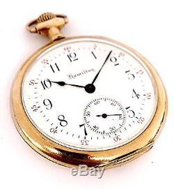 Vintage Hamilton 5 Positions 19 Jewels Size 12 Open Rare Movement Pocket Watch