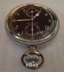 Vintage Hamilton model 23 chronograph military stop watch pocket watch
