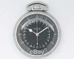 Vintage NICE Hamilton 22 Jewel 4992B G. C. T. 24hr Military Pocket Watch! Running