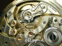 Vintage Pre Ww2 Hamilton 902 19 Jewel Adjusted 5 Postions Solid Gold Gear Train