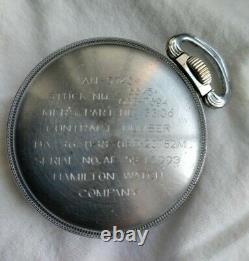 Vintage Wwii Hamilton Gct 4992b 24h Military Pocket Watch 22j Base Metal