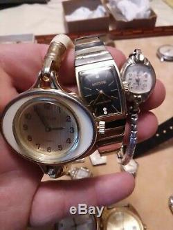 Vintage windup Watch Lot Hamilton Bulova hampden pocket watch Seiko 25j gruen+++