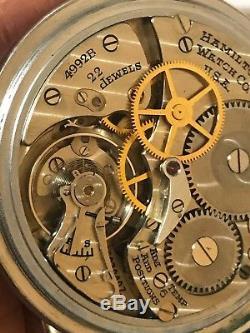 WOW! 1942 WWII Hamilton GCT 4992B Rare Dial Pocket Watch Railroad Time Accuracy