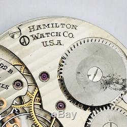 WOW 1946 Hamilton 992B 16S 21J Railroad Pocket Watch MOVEMENT, Dial, and Hands