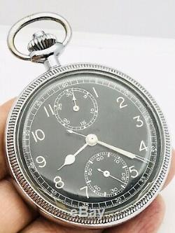 WWII Breitling 9848 Military 18J Navigation Chronograph Pocket Watch Runs Great