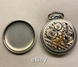 WWII Hamilton Military Pocket Watch 24 Hr White Face, White Hands. Hard To Find
