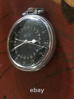 Wwii Hamilton Gct 4992b Pocket Watch Aircraft Navigation Wood Watch Box Us Navy
